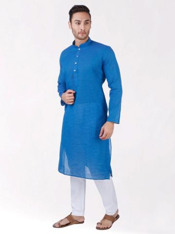 Blue Woven Checks Design Handloom Cotton Kurta