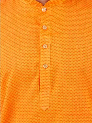 Yellow Woven Checks Design Handloom Cotton Kurta