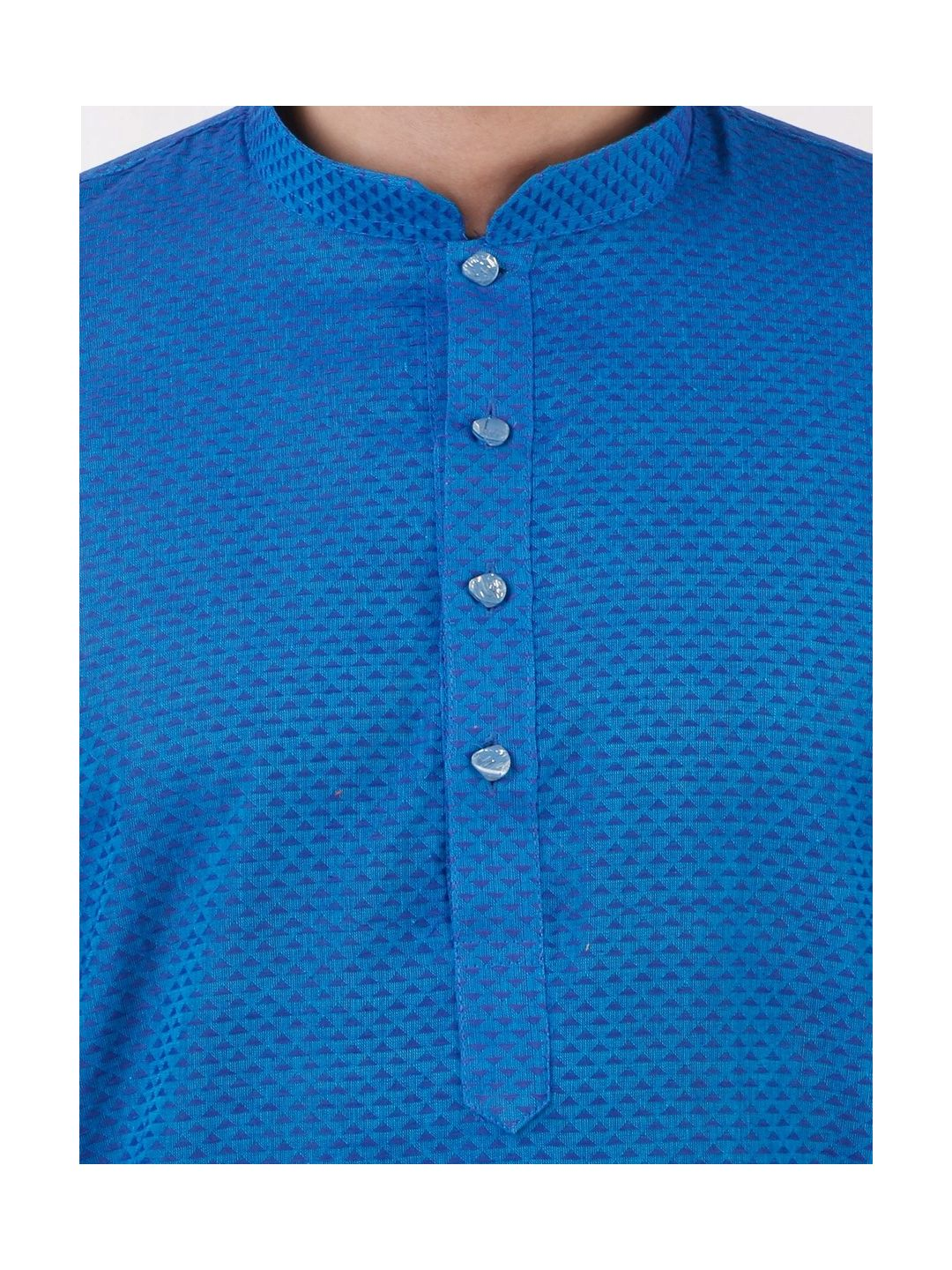 Blue Woven Geometric Design Handloom Cotton Kurta