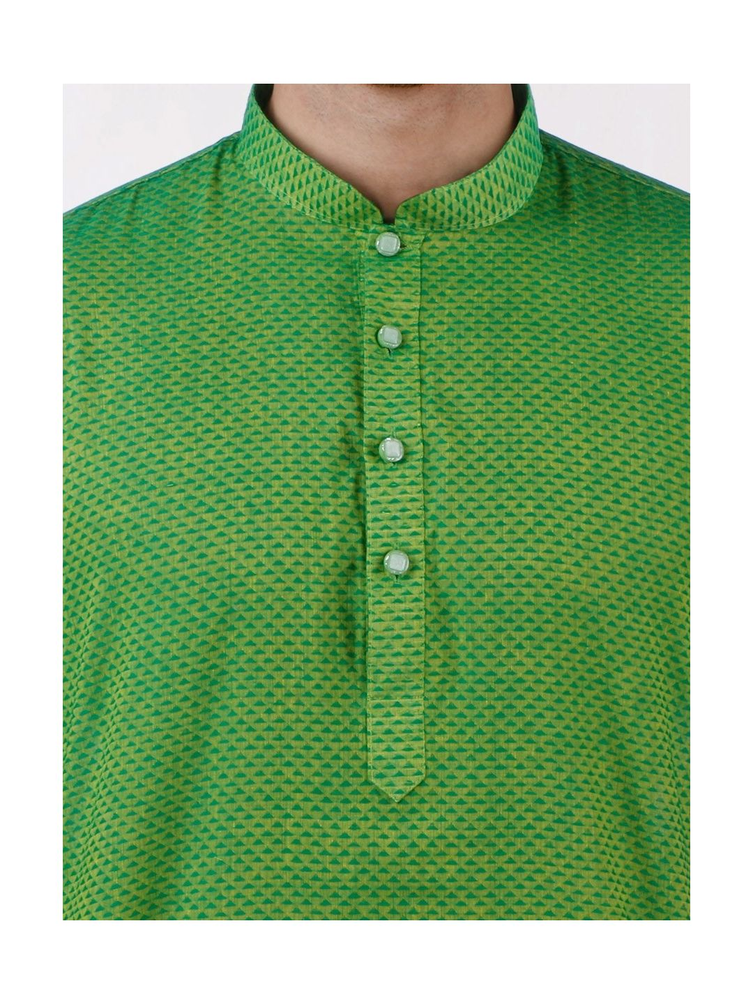 Green Woven Geometric Design Handloom Cotton Kurta