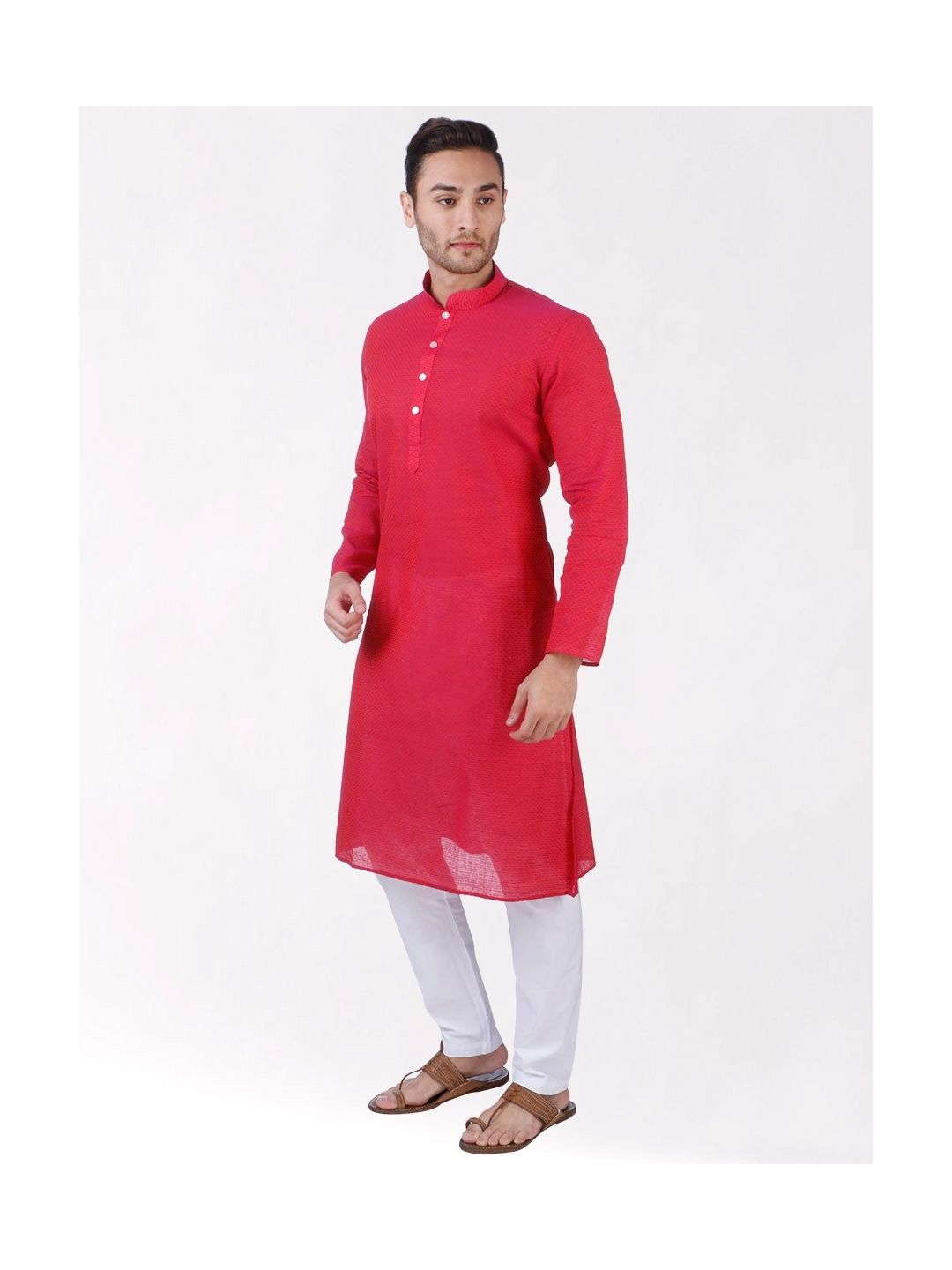 Pink Woven Geoetric Design Handloom Cotton Kurta