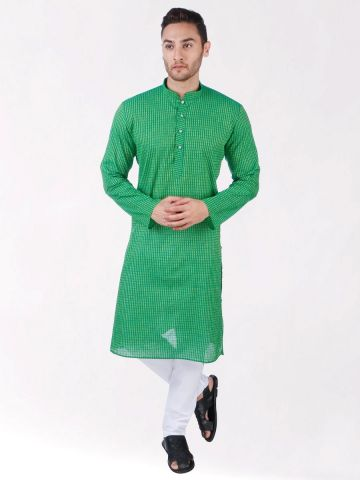 Green Woven Striped Design Handloom Cotton Kurta