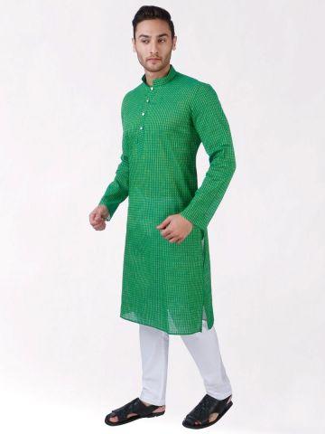 Green Woven Striped Design Handloom Cotton Kurta
