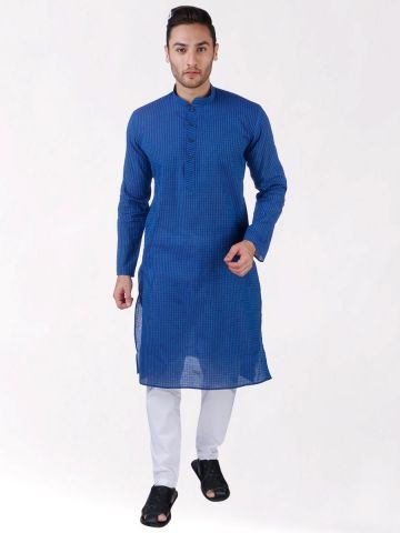 Blue Woven Striped Design Handloom Cotton Kurta