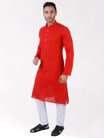 Red Woven Striped Design Handloom Cotton Kurta