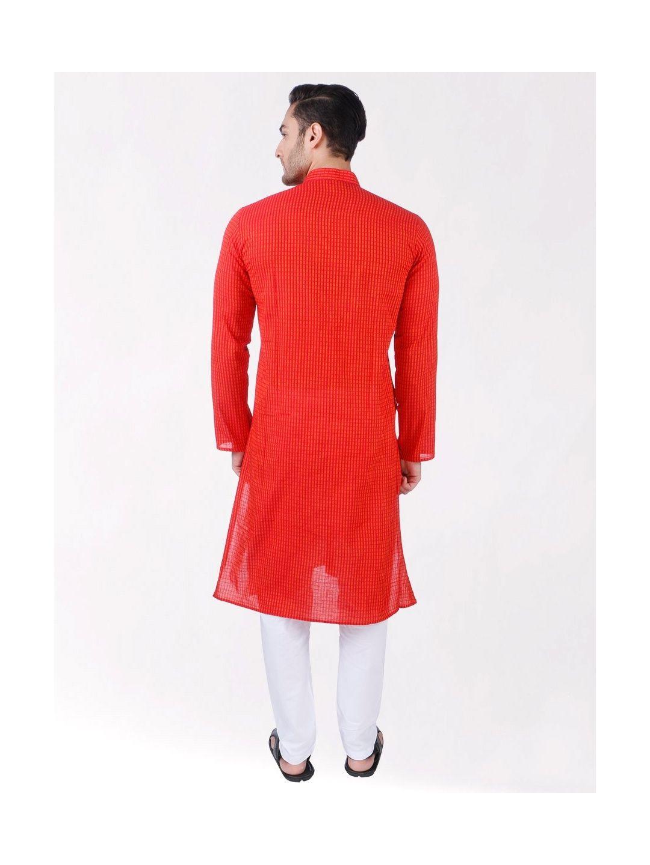 Red Woven Striped Design Handloom Cotton Kurta