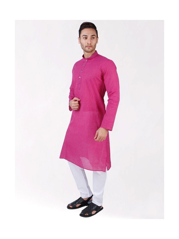 Pink Woven Striped Design Handloom Cotton Kurta