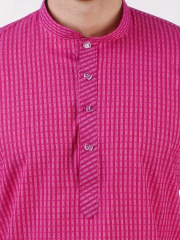 Pink Woven Striped Design Handloom Cotton Kurta