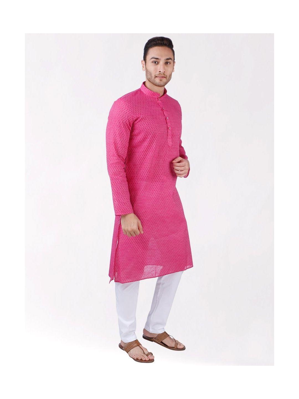 Pink Woven Floral Design Handloom Cotton Kurta