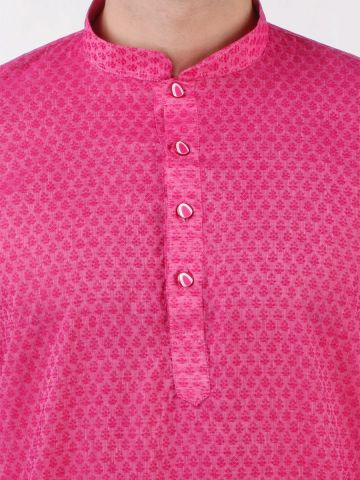 Pink Woven Floral Design Handloom Cotton Kurta