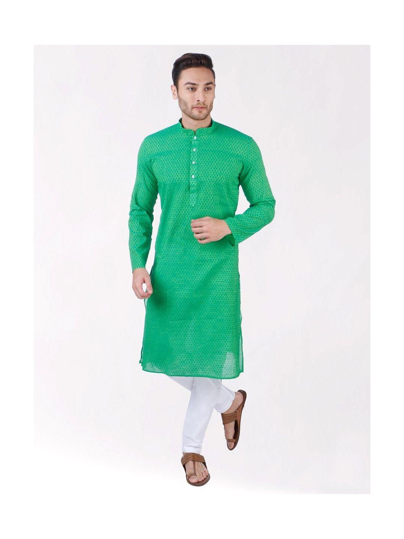 Green Woven Floral Design Handloom Cotton Kurta