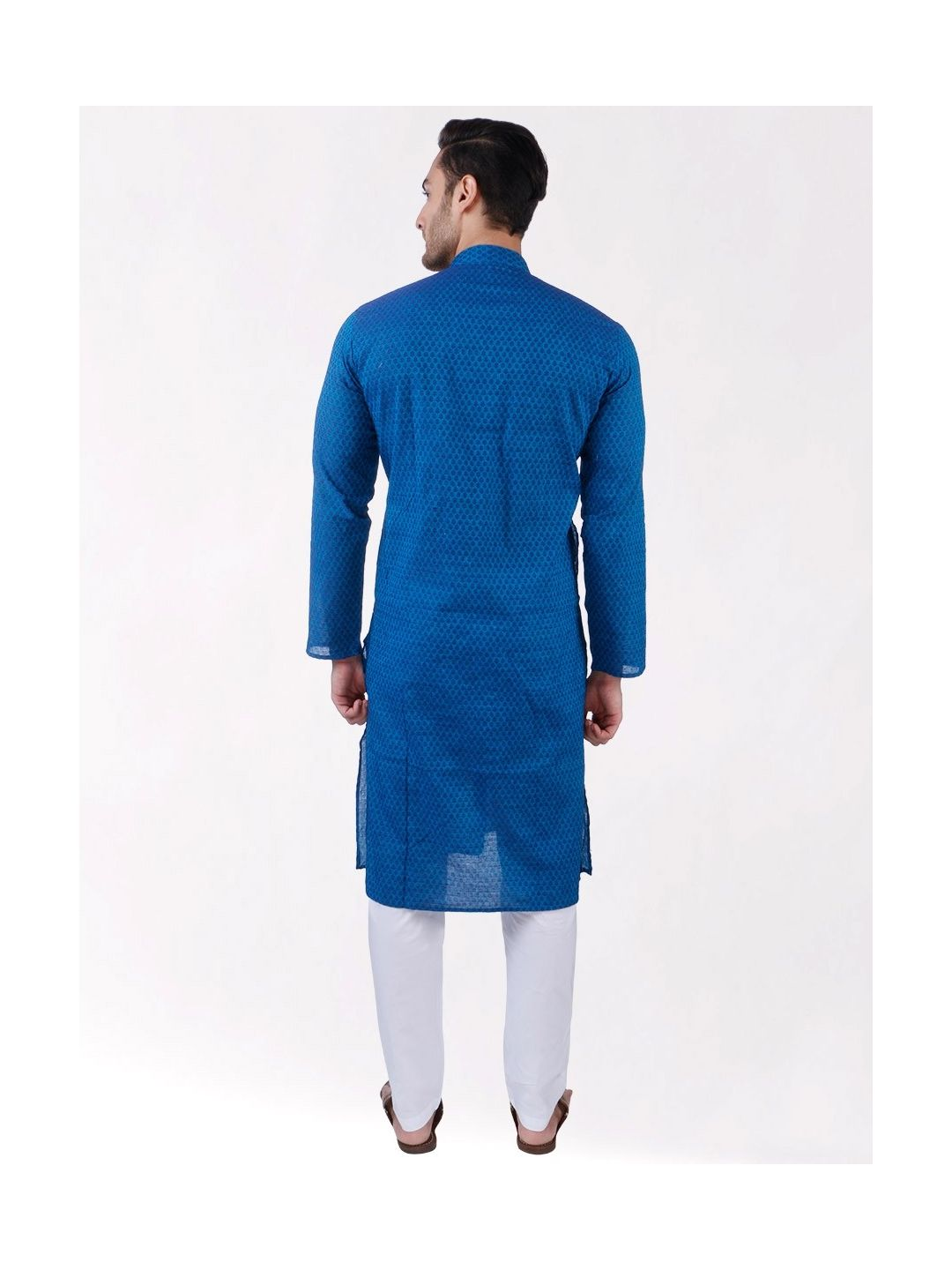 Blue Woven Floral Design Handloom Cotton Kurta