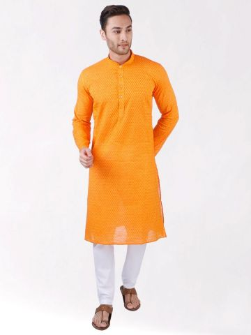 Yellow Woven Floral Design Handloom Cotton Kurta