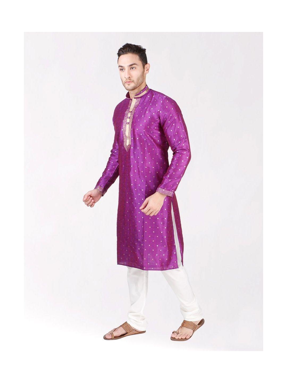 Purple Self Design Silk Kurta Pyjama