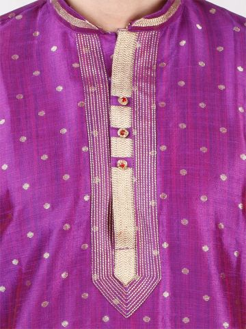 Purple Self Design Silk Kurta Pyjama
