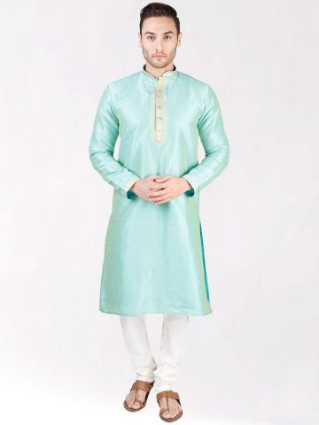 Mint Green Self Design Silk Kurta Pyjama