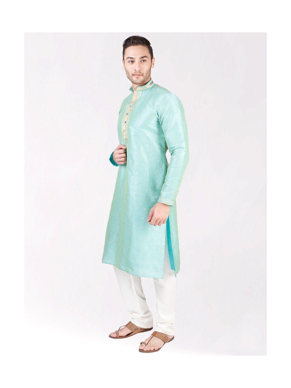 Mint Green Self Design Silk Kurta Pyjama