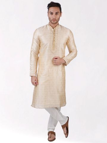 Beige Self Design Silk Kurta Pyjama