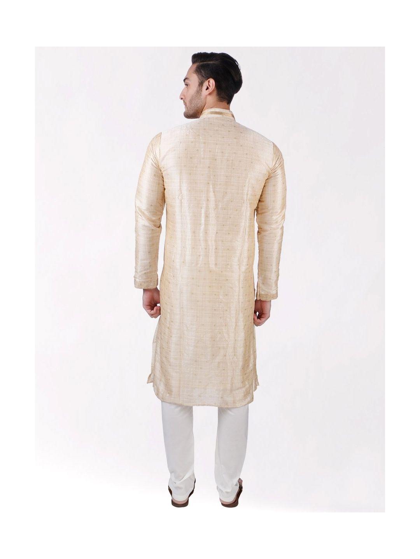 Beige Self Design Silk Kurta Pyjama