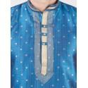 Blue Self Design Silk Kurta Pyjama