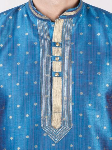 Blue Self Design Silk Kurta Pyjama