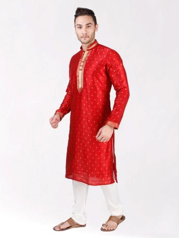 Red Self Design Silk Kurta Pyjama