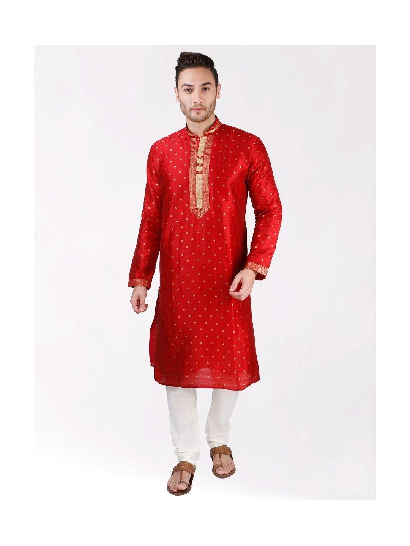 Red Self Design Silk Kurta Pyjama