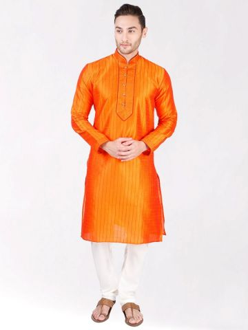Orange Pintuck Silk Kurta Pyjama