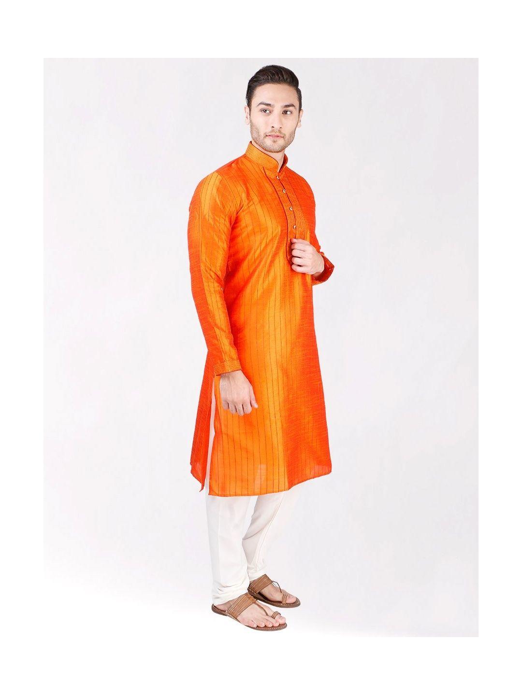 Orange Pintuck Silk Kurta Pyjama
