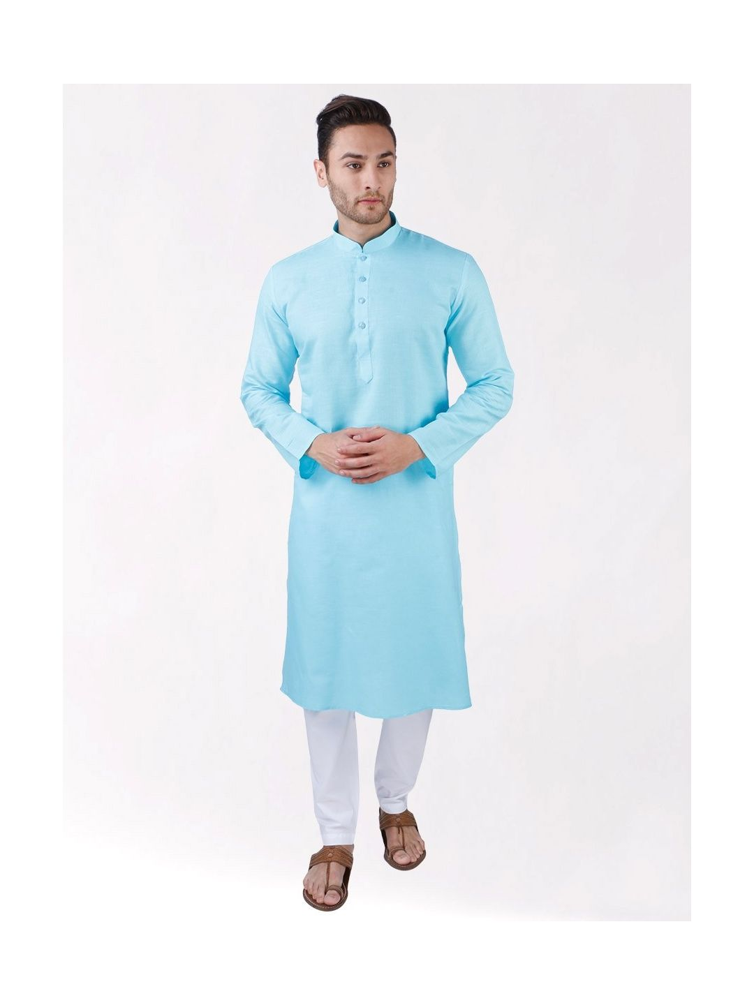 Sky Blue Linen Blend Long Kurta