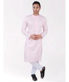 Pink Linen Blend Long Kurta
