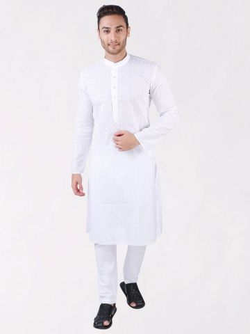 White Chikan Embroidered Kurta