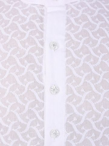 Boys White Chikankari Cotton Kurta