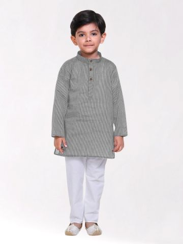 Boys Grey Handloom Cotton Kurta