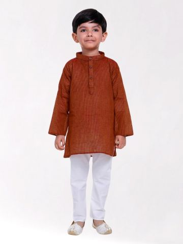 Boys Rust Brown Striped Handloom Cotton Kurta