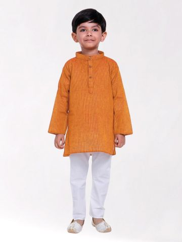 Boys Orange Striped Handloom Cotton Kurta