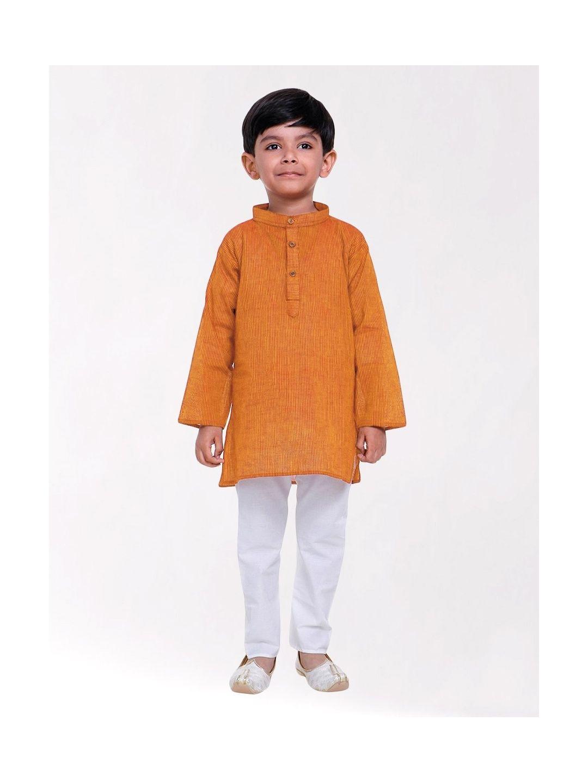 Boys Orange Striped Handloom Cotton Kurta