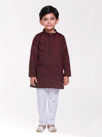 Boys Maroon Striped Handloom Cotton Kurta