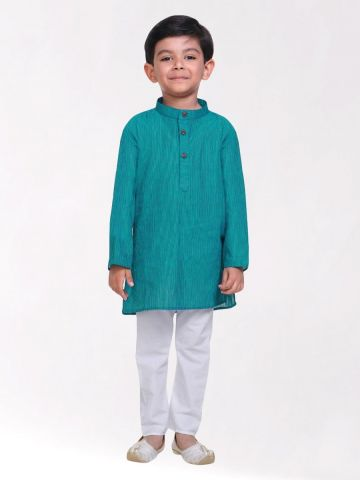 Boys Mint Green Striped Handloom Cotton Kurta