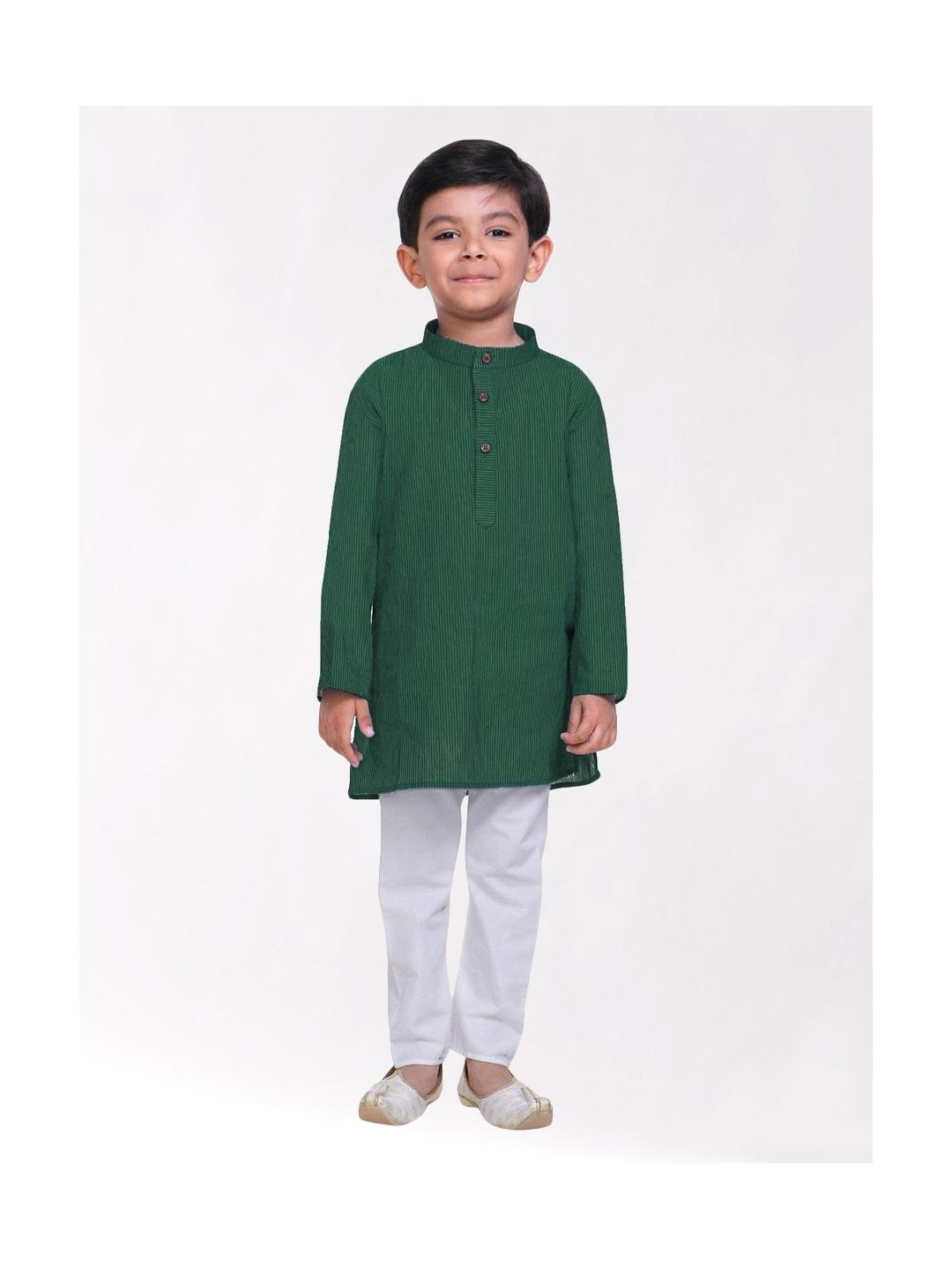 Boys Dark Green Striped Handloom Cotton Kurta