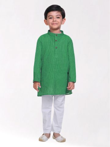 Boys Green Striped Handloom Cotton Kurta