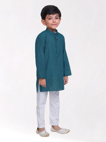 Boys Teal Striped Handloom Cotton Kurta