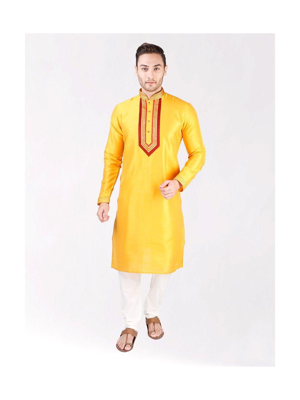Yellow Solid Silk Kurta Pyjama