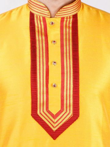 Yellow Solid Silk Kurta Pyjama