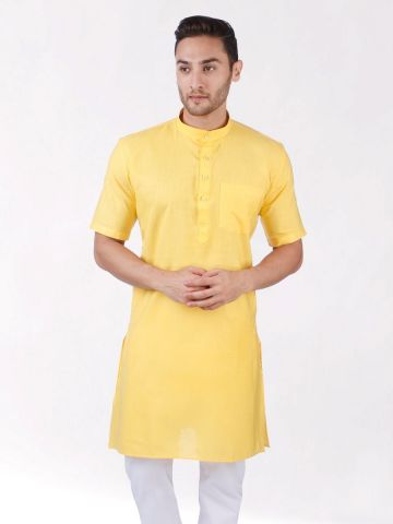 Yellow Tussar Cotton Kurta (Half Sleeve)