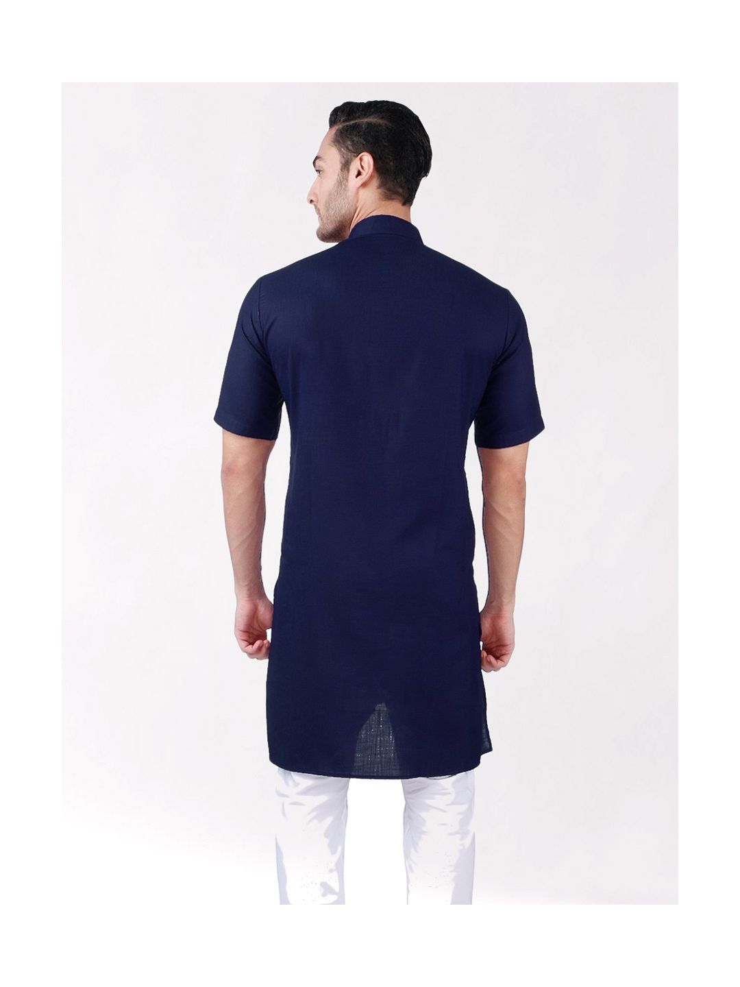 Navy BlueTussar Cotton Kurta (Half Sleeve)