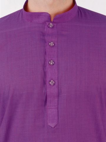 Purple Cotton Long Kurta