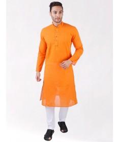 Orange Handloom Cotton Long Kurta