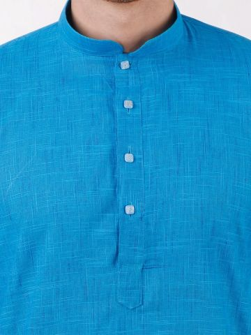Blue Slub Cotton Kurta