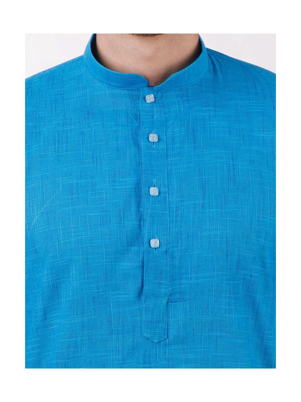 Blue Slub Cotton Kurta